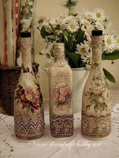 Примеры декупажа бутылок