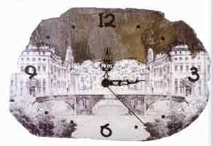 Часы на камне - декупаж на камнях